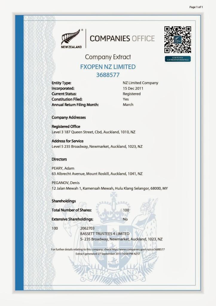 Новозеландская лицензия FXOpen