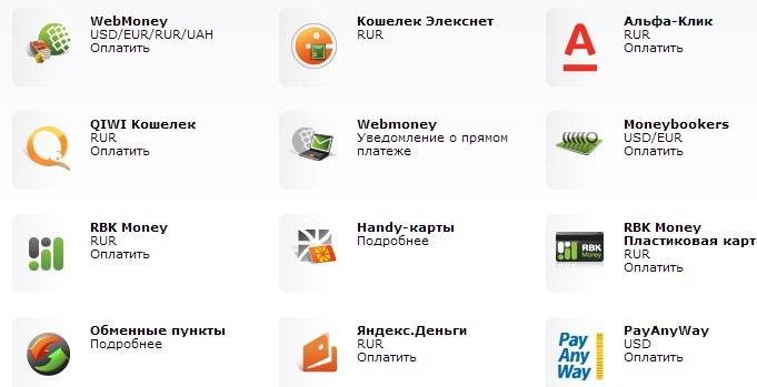 Платежные системы сайта Альпари