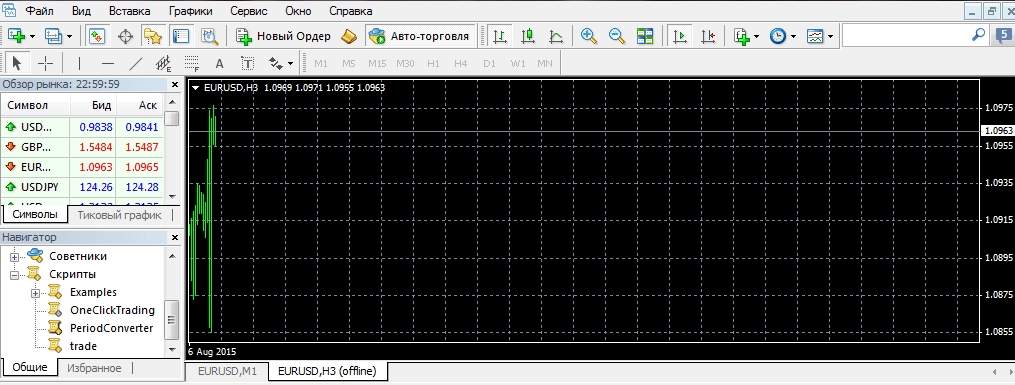 файл с нестандартным таймфреймом в базе