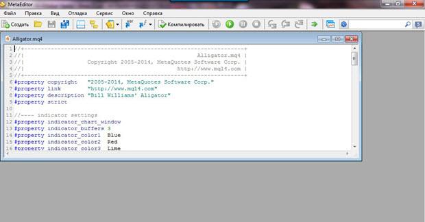 Создание программных кодов MetaEditor