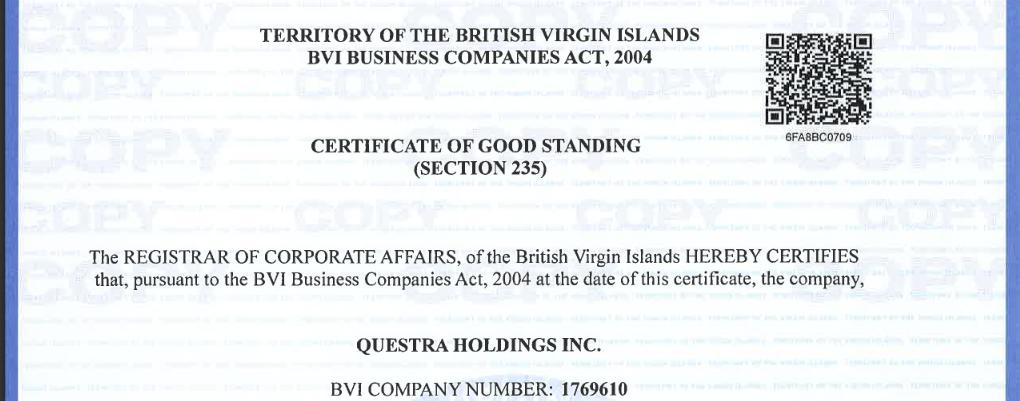 Questra Holdings certificate
