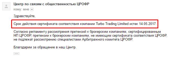 Turboforex ответ црофр