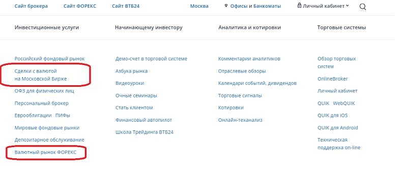 инвестиционный сервис сервис ВТБ24
