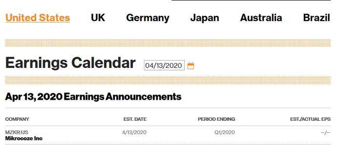 Календарь отчёностей на bloomberg.com