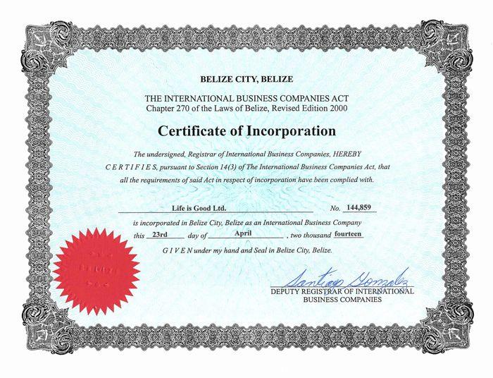 Life is Good сертификат